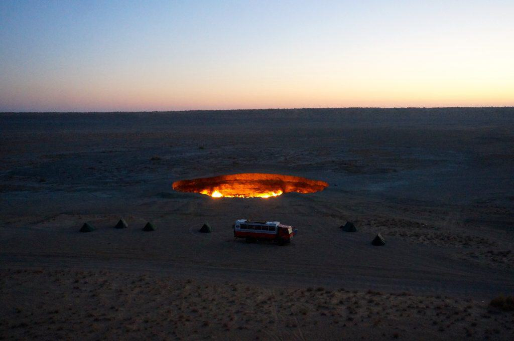An overland vehicle camping in the desert