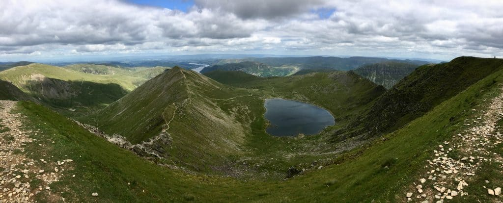View from the summit of Helvellyn with Striding Edge on the right and Swirral Edge on the left