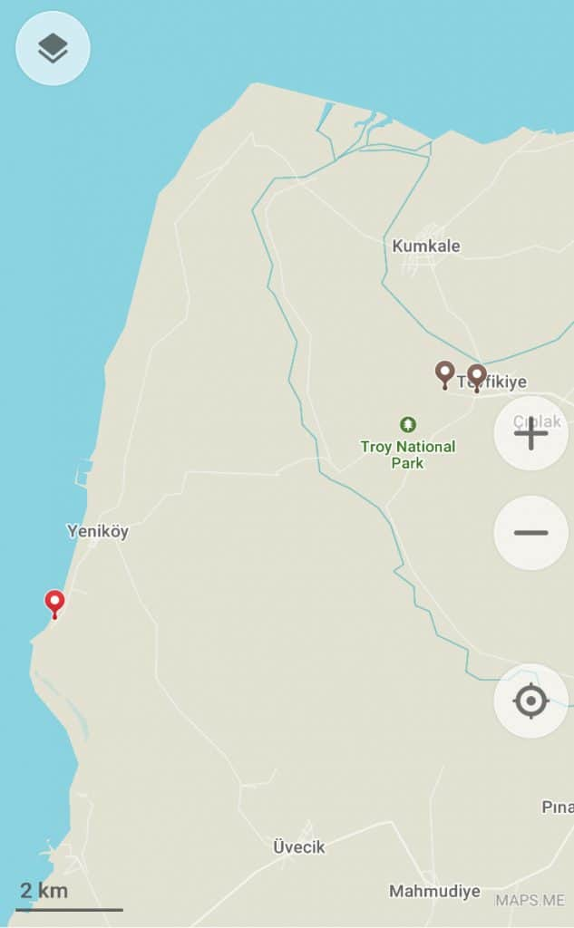 A map pin pointing a camping spot near Troy for an Istanbul to Cappadocia road trip