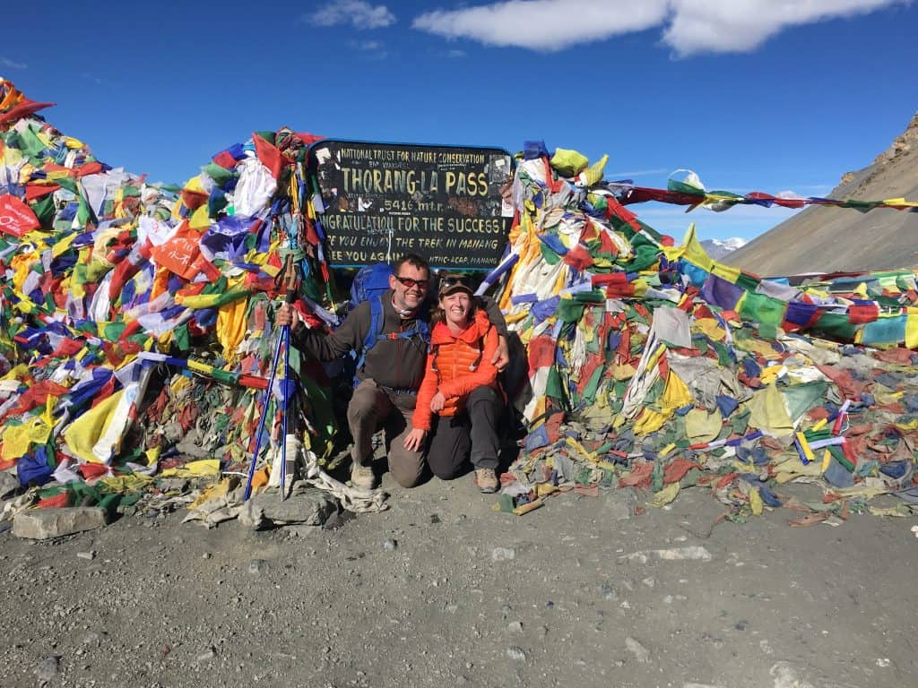 Nick and I at Thorong La Pass. To successfully cross the pass, use this Annapurna circuit packing list